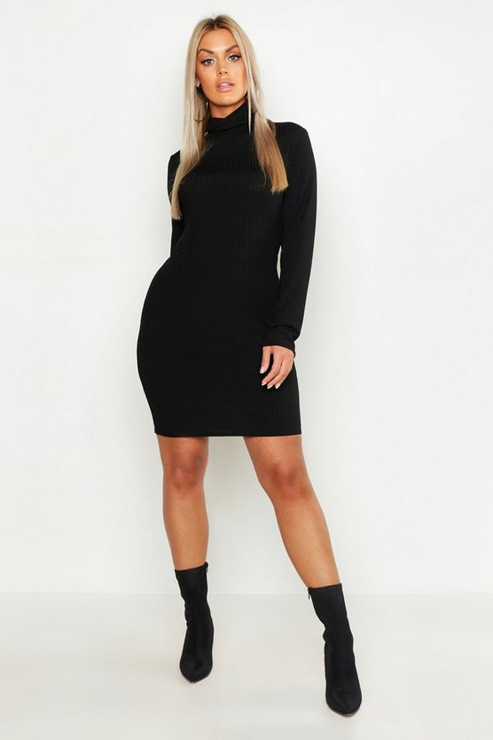 Womens Plus Roll Neck Rib Bodyon Dress
