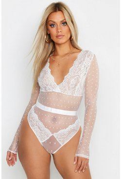 Womens White Plus Lace Long Sleeve Bodysuit