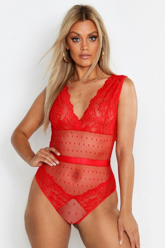 Womens Red Plus Lace Plunge Bodysuit