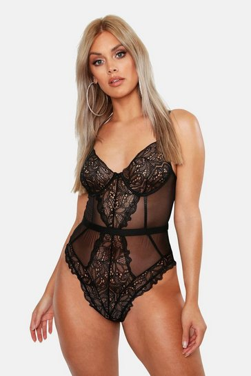 Womens Black Plus Lace Cup Bodysuit