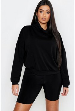 Womens Black Plus Roll Neck Sweat