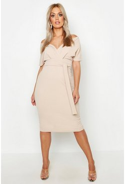 Stone Plus Off The Shoulder Wrap Midi Dress