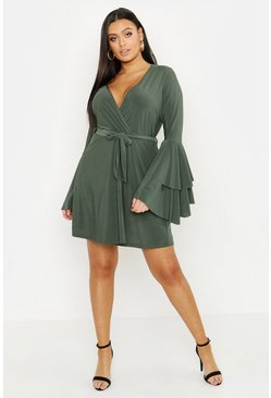Womens Khaki Plus Plunge Neck Flared Sleeve Skater Dress