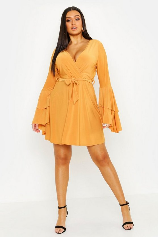 Womens Mustard Plus Plunge Neck Flared Sleeve Skater Dress