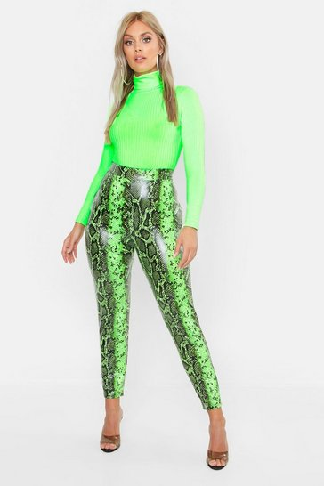 Womens Plus Lime Faux Leather Snake Print Slim Trouser