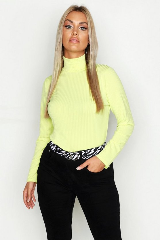Womens Lime Plus Jumbo Rib Neon Polo Neck