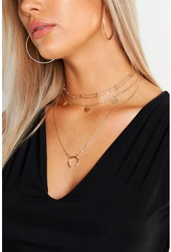 Womens Gold Plus Moon Pendant Layered Choker