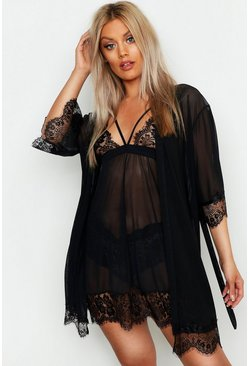 Womens Black Plus Eyelash Lace & Mesh Robe