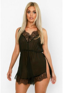 Womens Black Plus Lace Chiffon Teddy