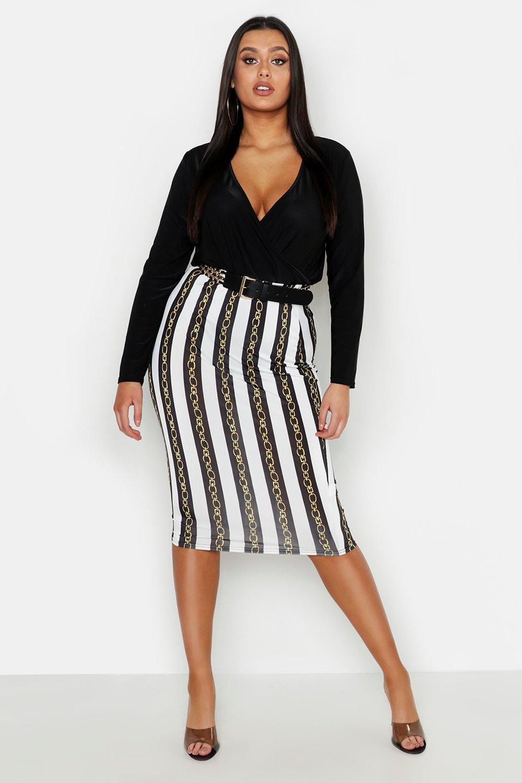 Plus Slinky Chain Print Midi Skirt