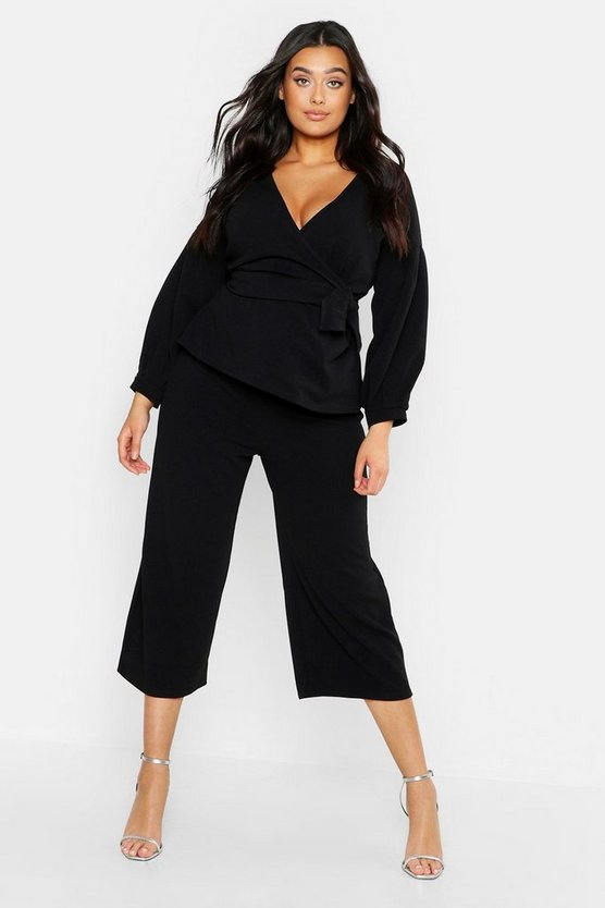 Womens Black Plus Wrap Top & Tapered Trouser Co-Ord