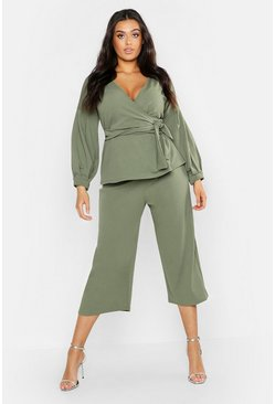 Dam Khaki Plus Wrap Top & Tapered Trouser Co-Ord