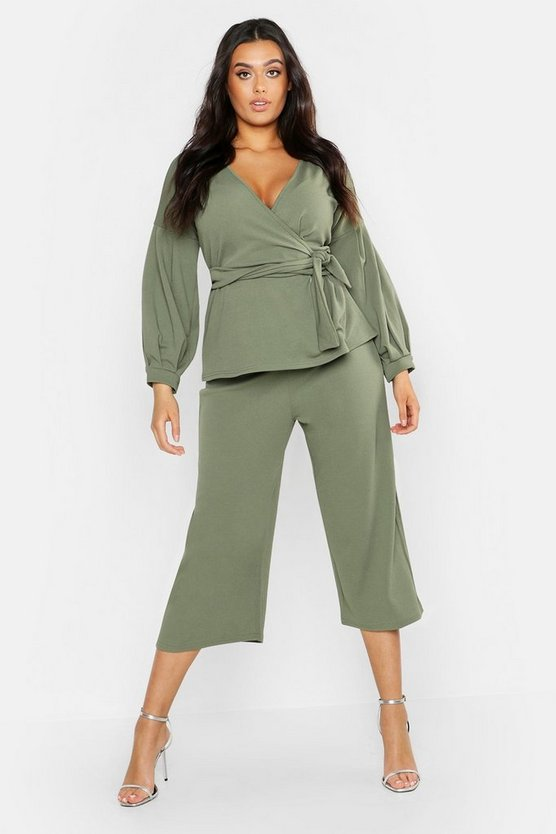 Womens Khaki Plus Wrap Top & Tapered Trouser Co-Ord