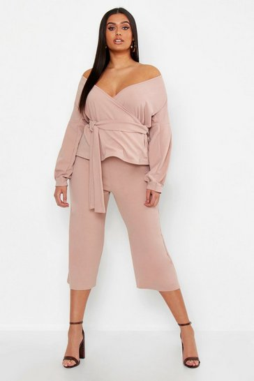 Womens Stone Plus Wrap Top & Tapered Trouser Co-Ord