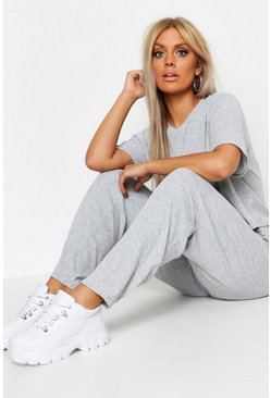 Grey Plus Soft Rib Basic T-Shirt & Trouser Co-Ord