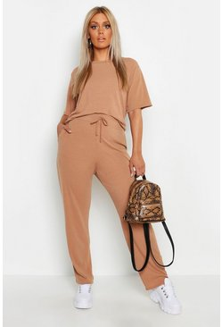 Womens Tan Plus Soft Rib Basic T-Shirt & Pants Co-Ord
