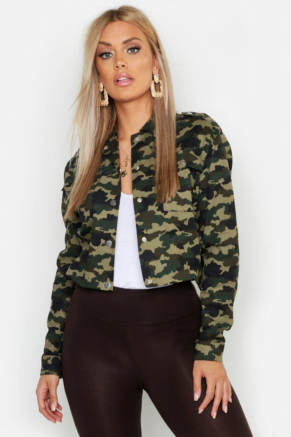 Plus Camo Print Pocket Detail Shacket