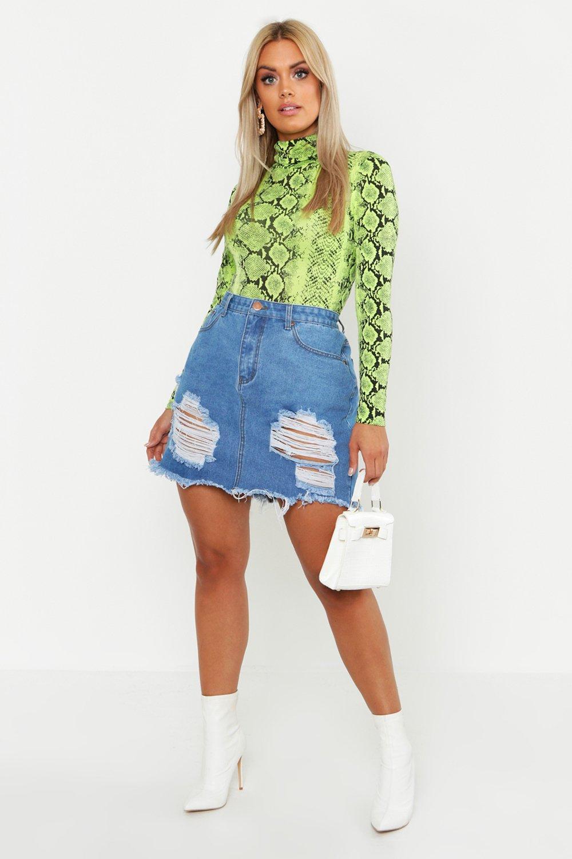 Plus Distressed Ripped Hem Denim Skirt