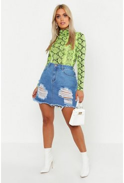 Mid blue Plus Distressed Ripped Hem Denim Skirt