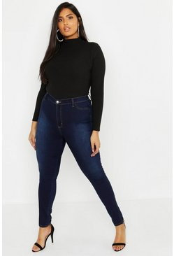 Dam Indigo Plus - Power stretch jeans med mycket hög midja