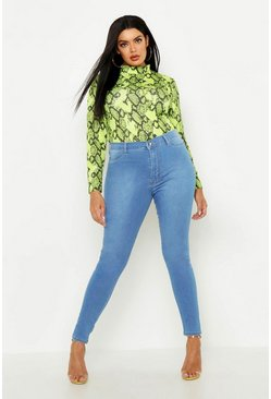 Plus Super High Waisted Power Stretch Jeans, Light wash, ЖЕНСКОЕ