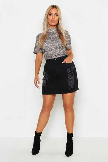 Womens Black Plus Distressed Denim Skirt