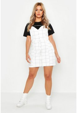 Womens White Plus Check Zip Through Pinafore Dress