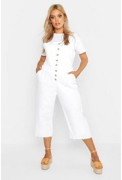 Womens Ecru Plus Button Down Culotte Dungaree