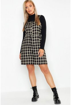 Womens Black Plus Button Down Check Print Pinafore Dress