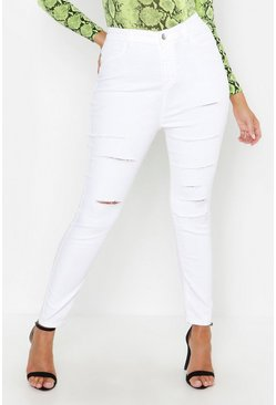 Womens Ecru Plus Slashed Ripped Jegging