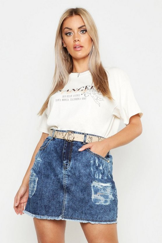 Indigo Plus Acid Wash Heavily Distressed Skirt