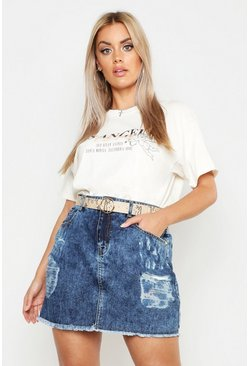 Womens Indigo Plus Acid Wash Heavily Distressed Skirt
