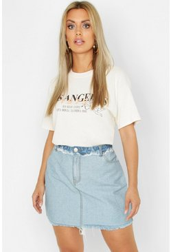 Womens Mid blue Plus Frayed Hem Detail Denim Skirt