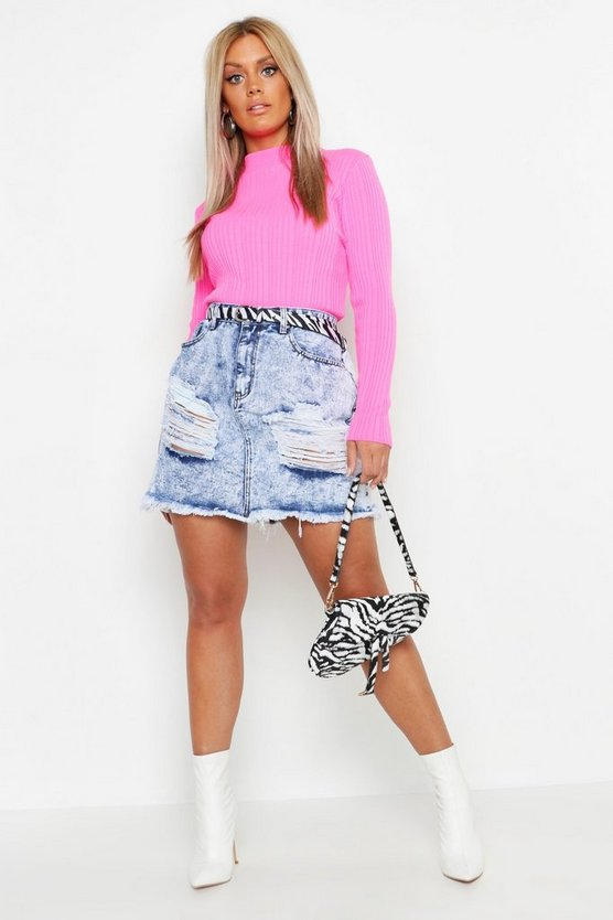 Blue Plus Marble Wash Distress Denim Skirt
