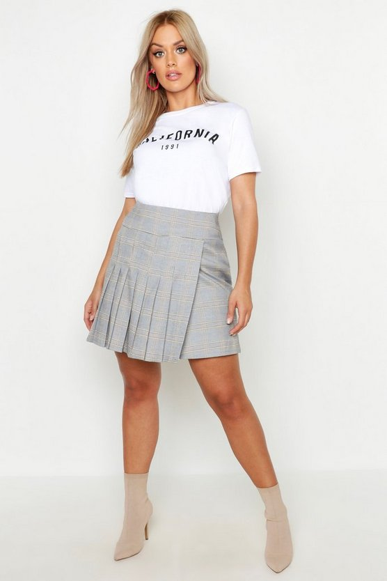 Womens Tan Plus Pleated Check Skirt