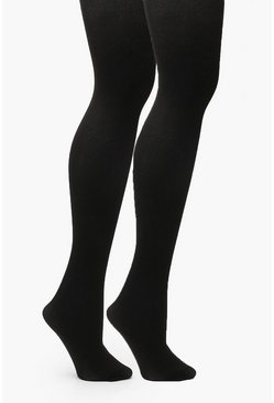 Womens Black Plus 2 Pack 100 Denier Tight