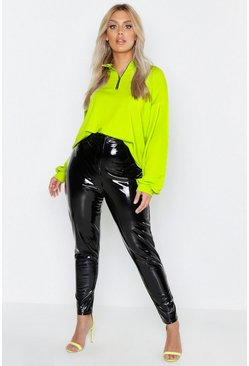 Womens Neon-yellow Plus Neon Zip Up Sweat Top