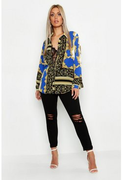 Womens Cobalt Plus Scarf Printed Oversized Shirt
