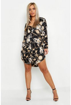 Womens Black Plus Satin Chain Printed Shirt Dress