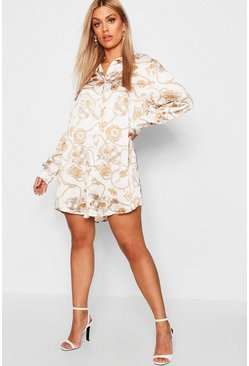 Womens Cream Plus Satin Chain Printed Shirt Dress