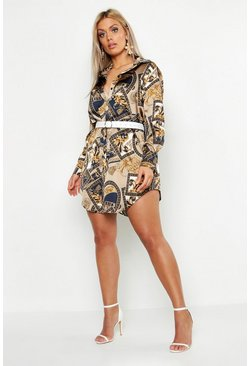 Womens Navy Plus Satin Chain Print Shirt Dress