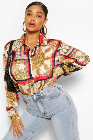 Taupe Plus Chain Printed Shirt Dress