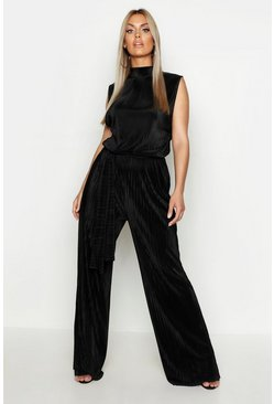 Womens Black Plus High Neck Plisse Jumpsuit