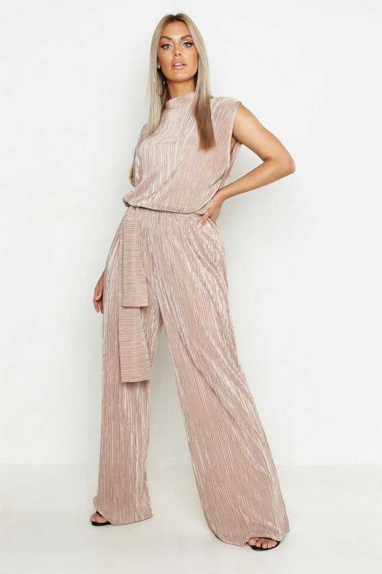 Plus High Neck Plisse Jumpsuit, Bronze, ЖЕНСКОЕ