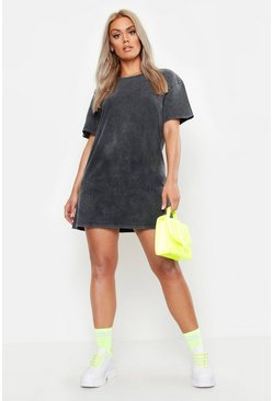Womens Black Plus Acid Wash T-Shirt Dress