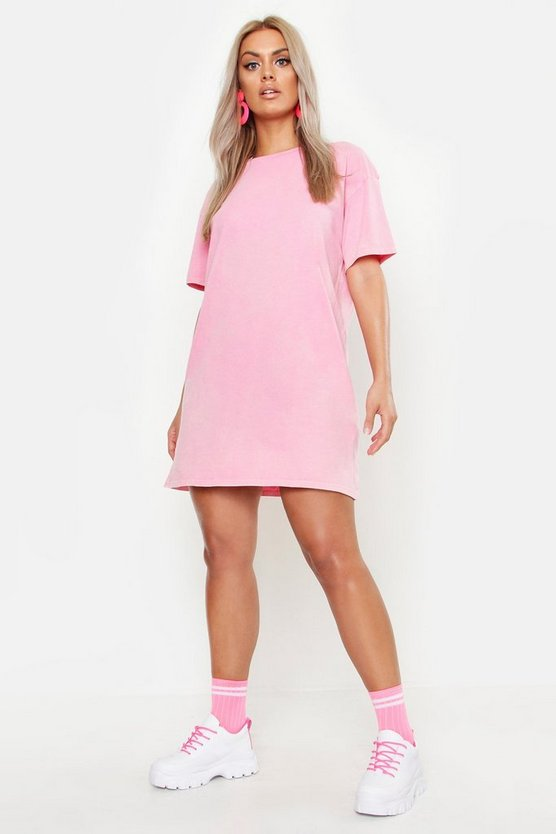 Womens Pink Plus Acid Wash T-Shirt Dress