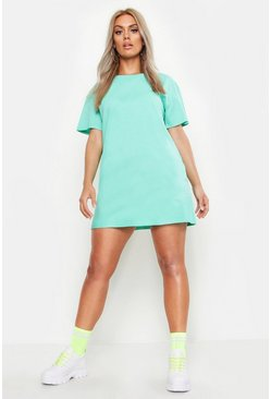 Sage Plus Acid Wash T-Shirt Dress