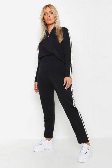Womens Black Plus Loop Back Zip Sweat & Jogger Set