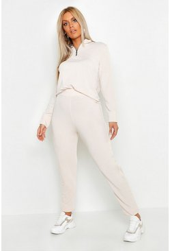 Dam Stone Plus Loop Back Zip Sweat & Jogger Set