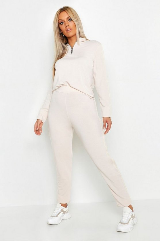 Womens Stone Plus Loop Back Zip Sweat & Jogger Set